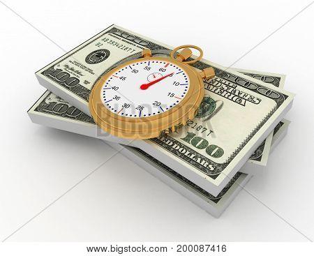 3d time is money . 3d rendered illustration