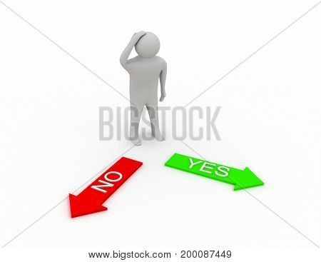 Confused 3d man with arrows YES NO . 3d rendered illustration