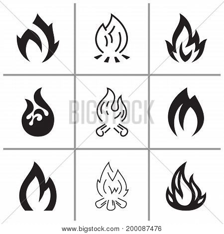 Fire flames signs and icons set, vector illustration