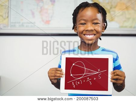 Digital composite of Boy holding a tablet with school icons on screen