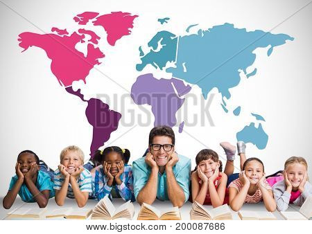Digital composite of Multicultural kids reading in front of colorful world map with teacher