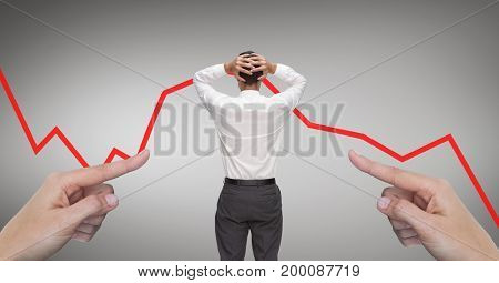 Digital composite of Hands pointing at surprised business man against grey background with red arrow