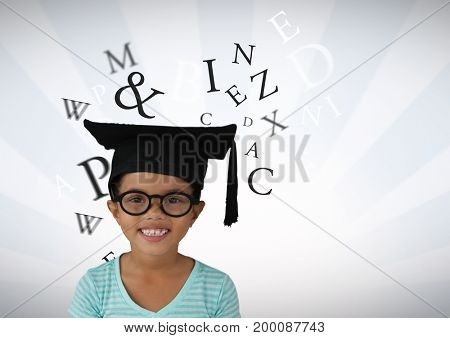 Digital composite of Many letters around Girl with graduation hat and bright streaked background