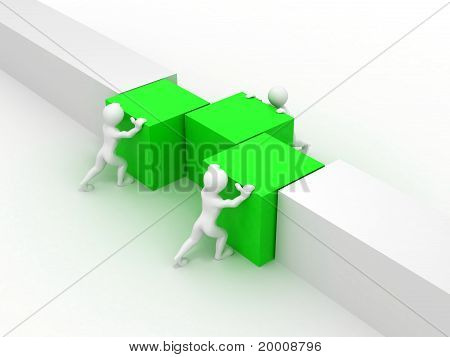 Men With Boxes. Conceptual Image Of Teamwork