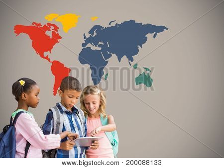 Digital composite of Kids on tablet in front of colorful world map
