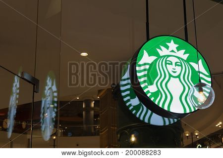 Nakhon Ratchasima, Thailand - June 26, 2017: Starbucks Logo, Coffee Company And Coffeehouse Chain, F