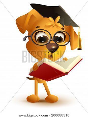 Yellow dog teacher reading book. Isolated on white fun vector cartoon illustration