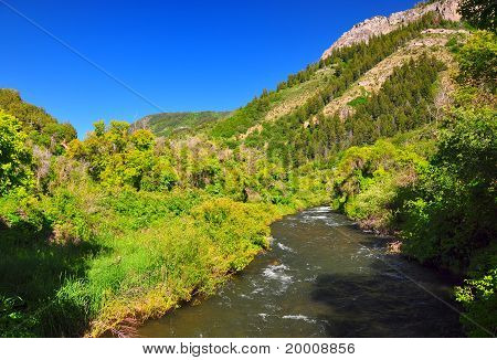 Scenic river in a valley