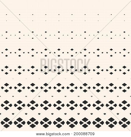 Vector halftone pattern. Geometric seamless pattern with small diamond shapes, fading rhombuses. Hipster fashion background. Monochrome texture with gradient transition effect. Design for decor, prints, fabric. Diamond pattern, halftone background.