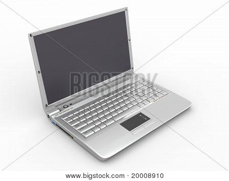 Opened Laptop On White Isolated Background
