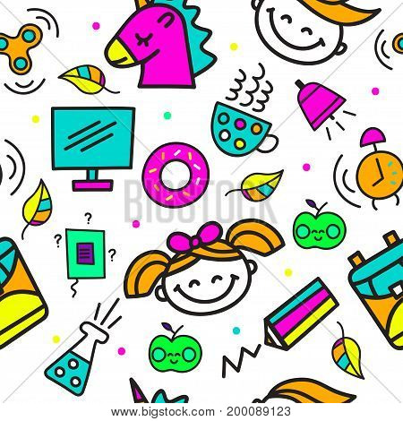 Seamless school pattern on white background. Day of knowledge. Set hand drawn color icons - girl, boy, apple, book, pencil, backpack, unicorn, spinner, donut, tube. Vector illustration