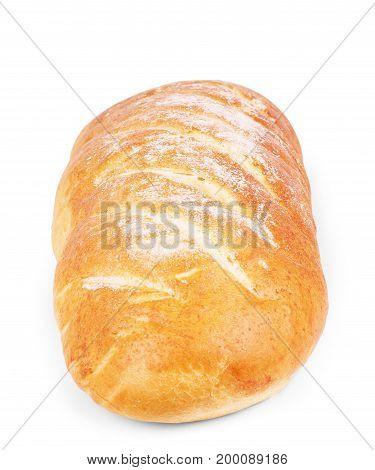 bread (loaf) isolated on white background. loaf, bread, closeup, isolated, grain, bun, slice, natural,