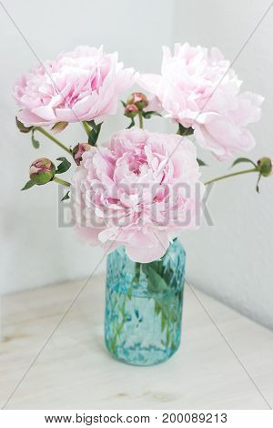 Bouquet Of Pink Peonies In A Vase. Bouquet Of Peonies In A Vase On The Table. Dressing Table.