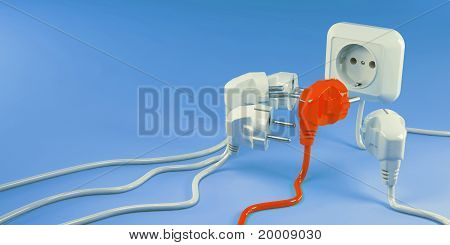 Plugs And Socket. Conceptual Image Of Individuality