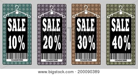 Vector Sale icon set. Discount price off and sales design template. Shopping and low price symbols. 10,20,30,40 percent sale.