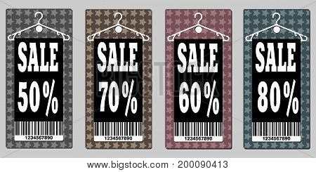 Vector Sale icon set. Discount price off and sales design template. Shopping and low price symbols. 50,60,70,80 percent sale.