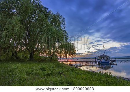 Sunset or blue hour in quiet beach near Varna Bulgaria