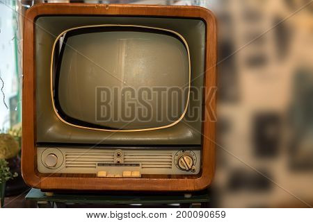 Close up image of retro tube TV