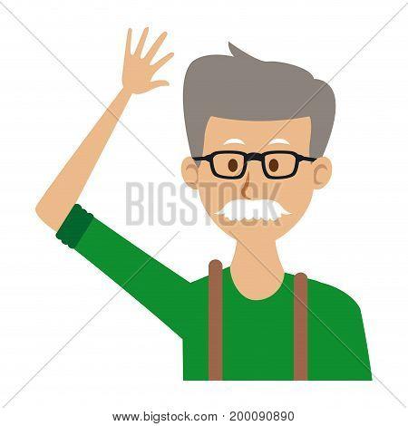 portrait of a senior man character on white background vector illustration