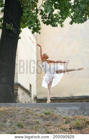 Vertical shot of a young female ballet dancer performing on the streets of the town.