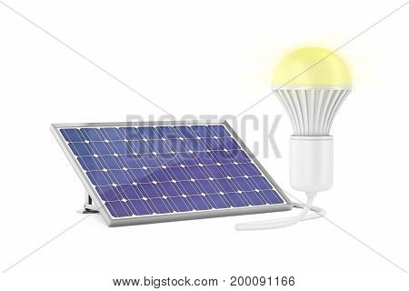 Generating electricity with solar panel for the light bulb to glow, 3D illustration