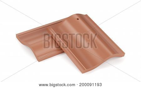 Two roof tiles on white background, 3D illustration