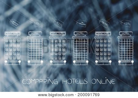 Hotels With Different Offers And Conditions In Price Tags Above Them