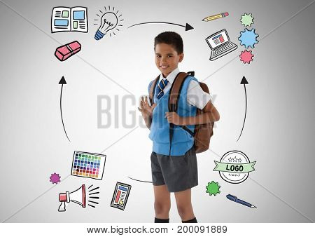 Digital composite of School boy in front of education graphics