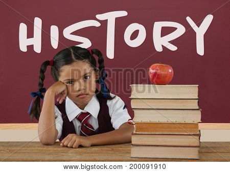 Digital composite of Bored student girl at table against red blackboard with history text