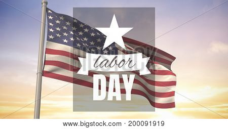 Digital composite of Labor day text over US flag