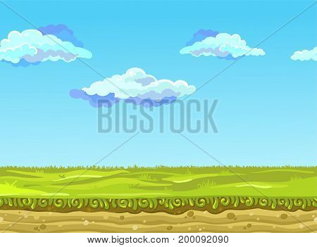 Seamless Landscape with a green meadow. Vector illustration, possible to use for the game, banner, videos or web graphic design, user interface, card, poster.