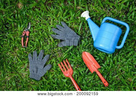 Tools On Planting On Wood Table And Farm Work