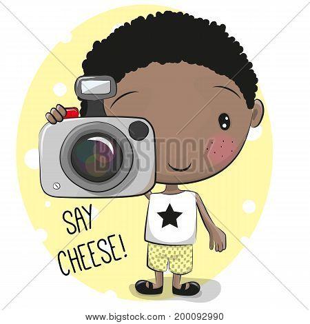 Cute cartoon Boyl with a camera on a cheese background