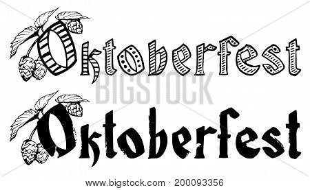 Oktoberfest lettering text for greeting card. Template title vector illustration