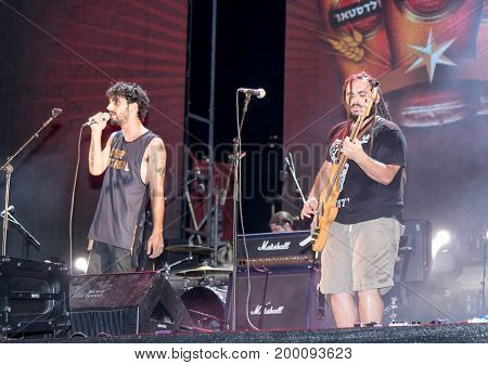 Haifa Israel August 16 2017 : The musical group performs on stage at the traditional annual beer festival in Haifa Israel