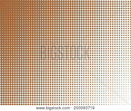 Vertical Gradient Brown Halftone Dots Background. Pop Art Template, Texture Illustration