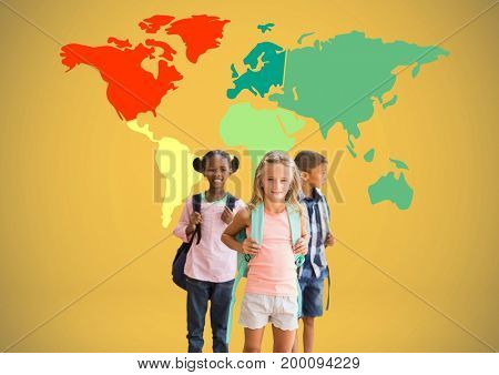Digital composite of Kids in front of colorful world map