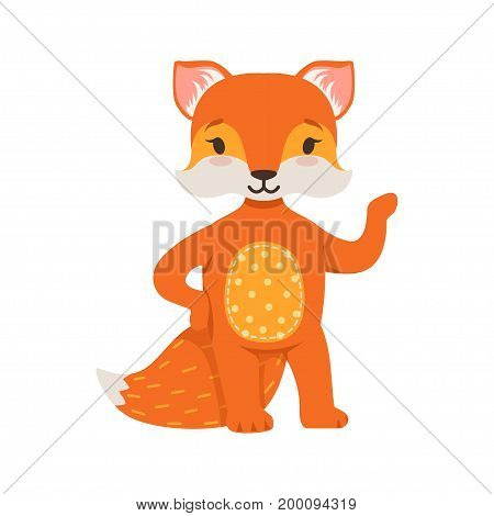 Cute orange fox character standing, funny cartoon forest animal posing vector Illustration on a white background