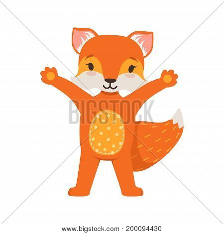 Cute orange fox character standing with hands up, funny cartoon forest animal posing vector Illustration on a white background