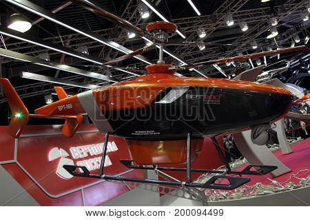 Moscow Region - July 21 2017: Prototype Ice reconnaissance helicopter WRT-300 at the International Aviation and Space Salon (MAKS) in Zhukovsky.