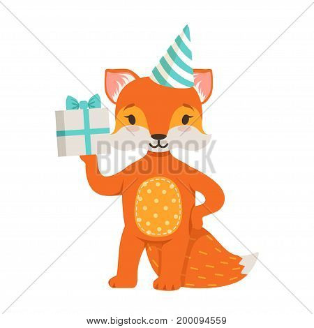 Cute orange fox character wearing in a party hat holding a gift box, funny cartoon forest animal posing vector Illustration on a white background