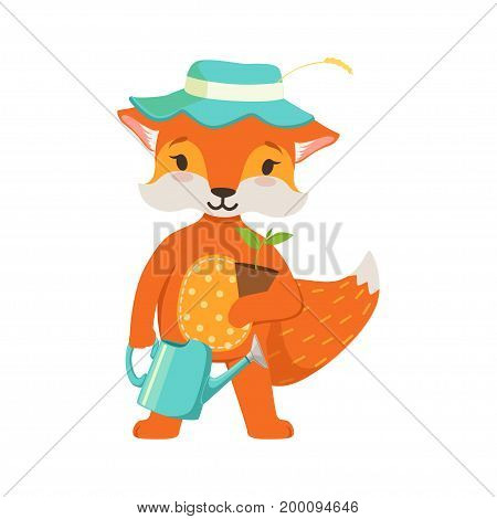 Cute orange fox gardener character, funny cartoon forest animal posing with watering can and flower pot vector Illustration on a white background