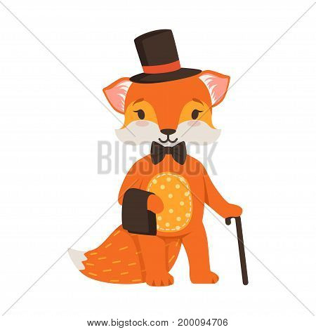Cute orange fox gentleman character, funny cartoon forest animal posing in a black hat and cane vector Illustration on a white background