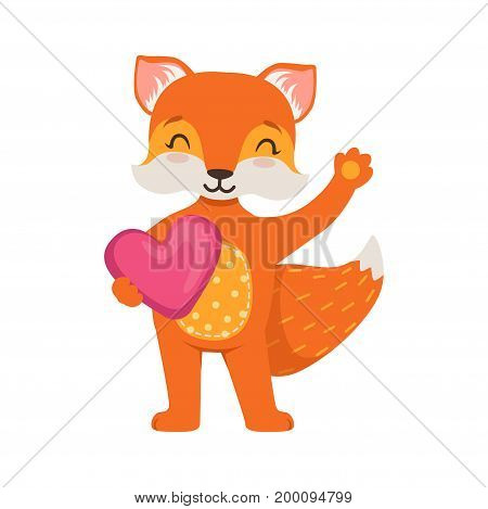 Cute orange fox character standing and holding pink heart, funny cartoon forest animal posing vector Illustration on a white background