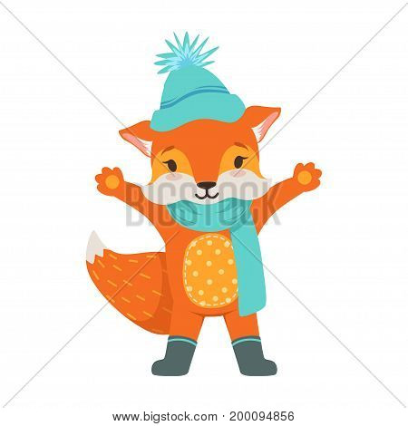 Cute orange fox character wearing in a light blue knitted hat and scarf, funny cartoon forest animal posing with hands up vector Illustration on a white background