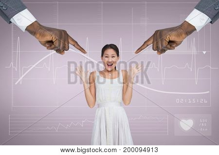 Digital composite of Hands pointing at surprised business woman against pink background with electrocardiogram