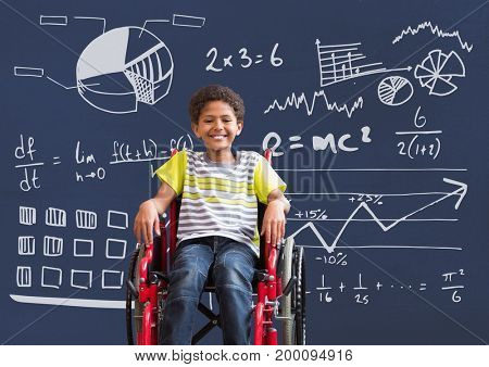 Digital composite of Disabled boy in wheelchair in front of blackboard with science diagrams