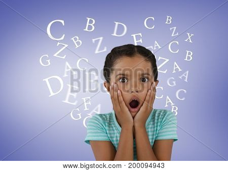 Digital composite of Many letters around Girl surprised in front of purple background