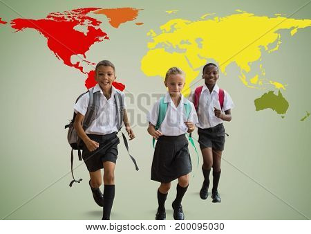Digital composite of School kids in front of colorful world map