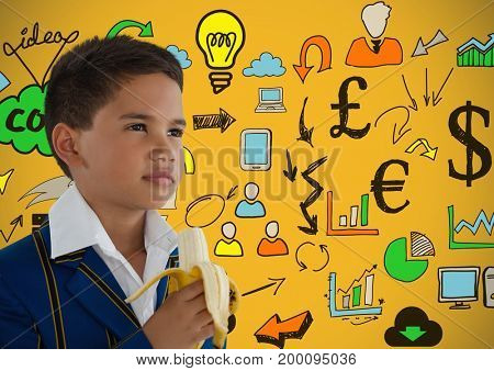 Digital composite of boy eating banana in front of colorful concept ideas